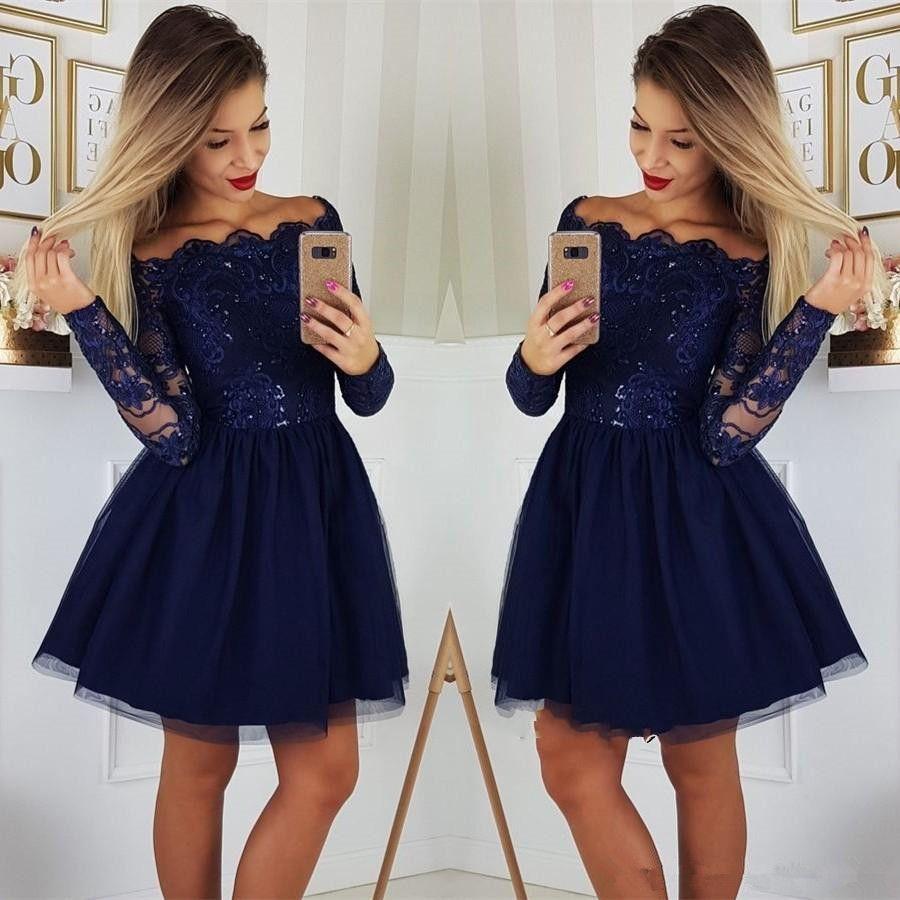 Compre Elegante Manga Larga Azul Marino Vestidos De Fiesta Vestidos Cortos De Fiesta De Encaje A La Venta Faldas Gradas Una Línea Ilusión Corpiño