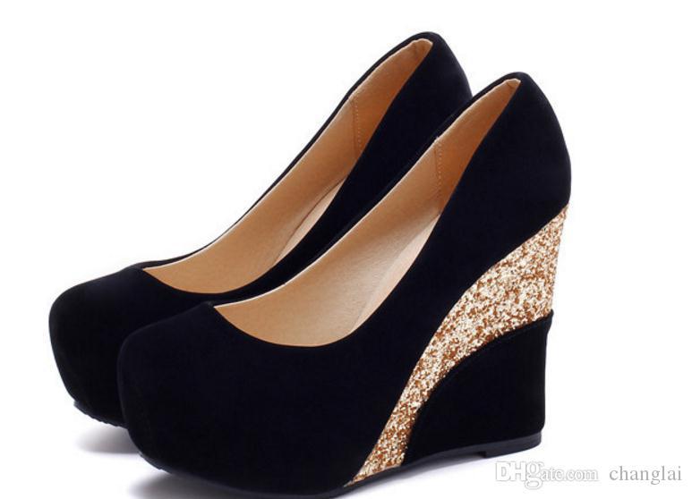 Envoi gratuit Hot Spring chaussures simples tête ronde coréen Shallow bouche femmes chaussures talon talon