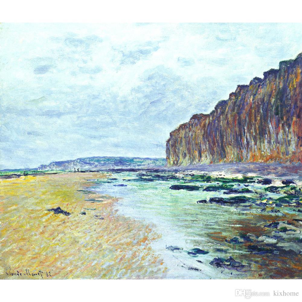 Pinturas de Claude Monet de Low Tide en Varengeville II arte de la lona hecha a mano para el dormitorio de alta calidad