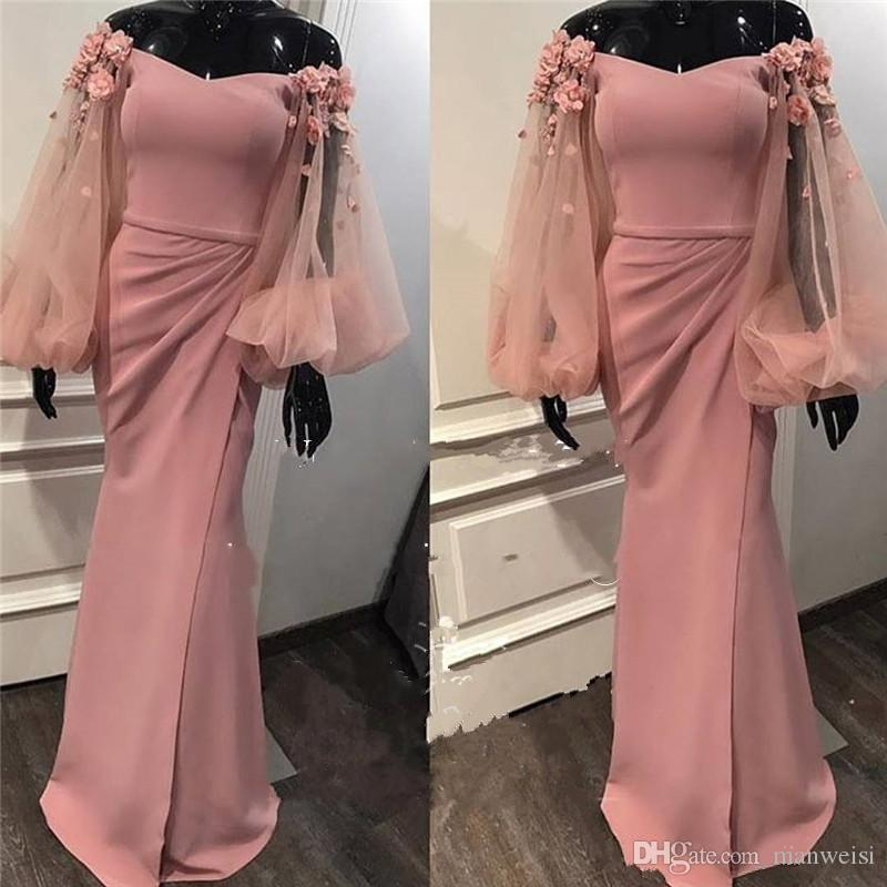 Sexy Mermaid Arabic Prom Dresses Off The Shoulder Long Sleeves 3D Floral Appliqued High Split Evening Gowns Hot Pink Formal Party Dress