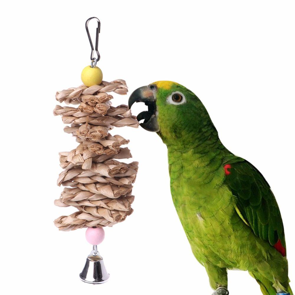 Oiseau Perroquet Jouets Naturel En Bois Herbe À Mâcher Morsure Suspendue Cage Accessoires Cloche Swing Escalade Mâcher Jouets Oiseau Fournitures C42