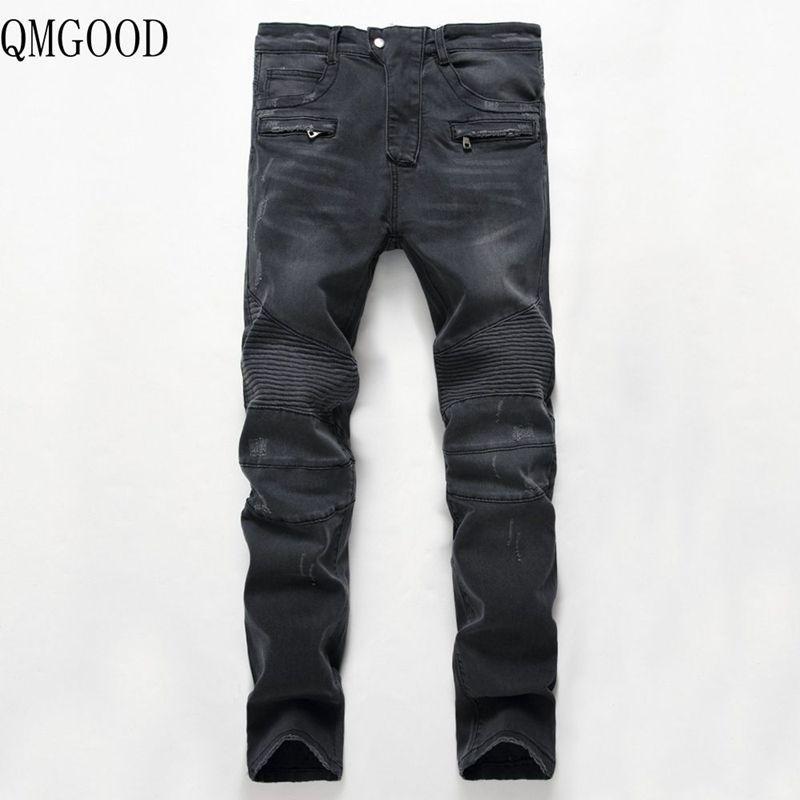 QMGOOD 2018 Yeni erkek Skinny Jeans Dört Mevsim Rahat Pantolon Motosiklet Biker Erkekler Yıkama Eski Katlı Kot Erkek Pantolon ...