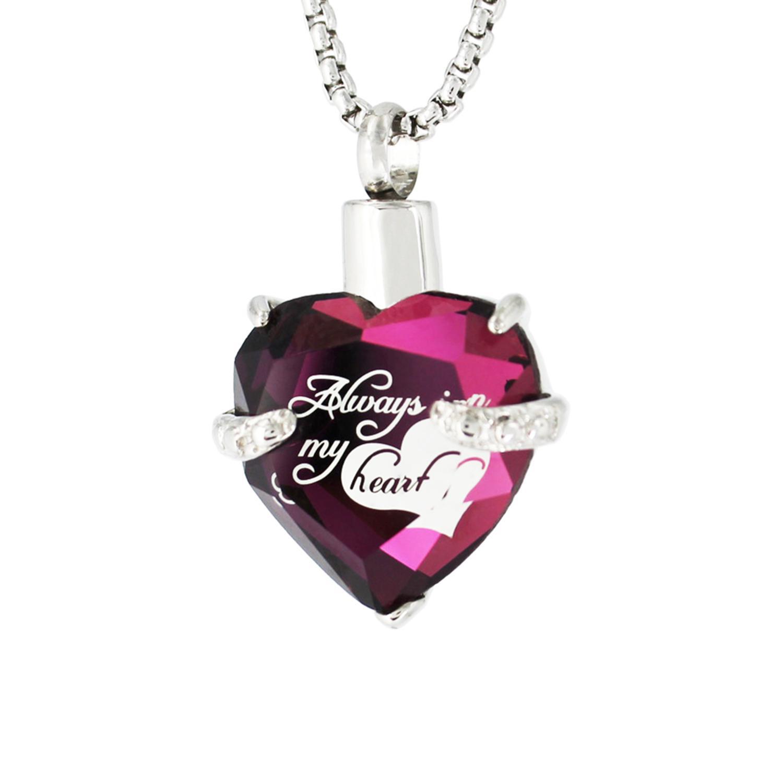 Always in My Heart Glass Heart Memorial Cremation Jewelry Keepsake Urn Pendant Necklace