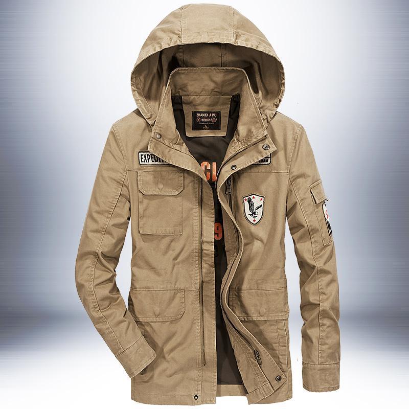 Vestuário 2.018 homens jaqueta Primavera bomber jacket capuz removível bordados estilo do exército zíper casacos veste homme