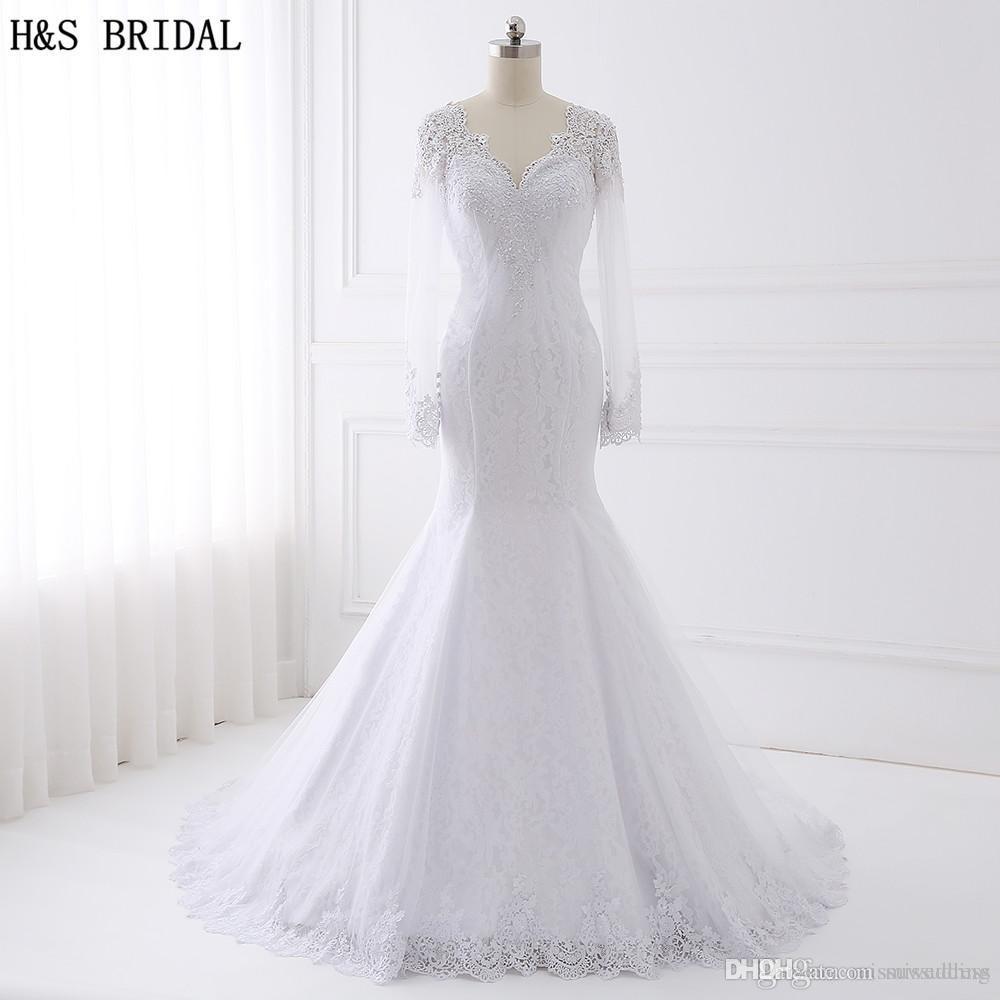 Vestido de novia de encaje de manga larga nupcial HS 2017 vestidos de novia con cuentas Turquía V Cuello Sirena Vestidos de novia Vestido de Noiva