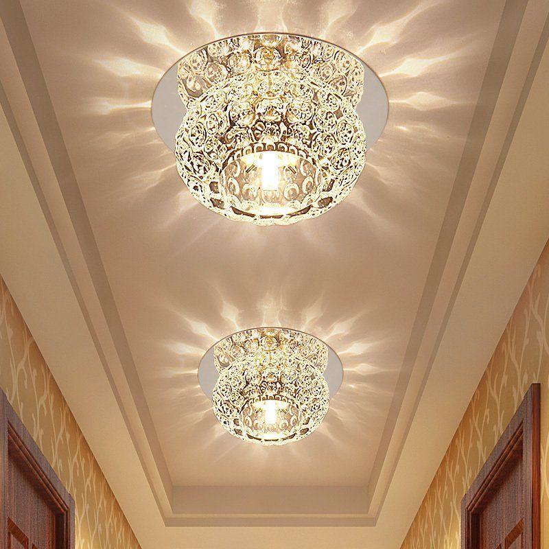 Kabarcık Kristal Tavan Işıkları LED Koridor Lambası Spot Işık Oturma Odası Koridor Giriş Downlight Paslanmaz Çelik Ayna Taban Tavan Lambası