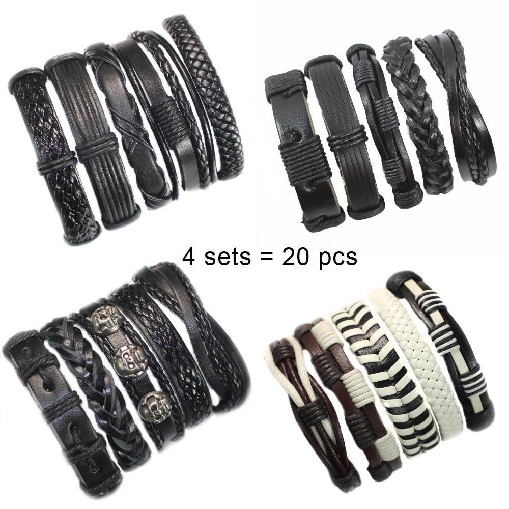Atacado 4 conjuntos / 20pcs Handmade pulseira de couro Charm Bracelet jóias homens trançado Vintage Leather Bracelet For Men Masculino YT9