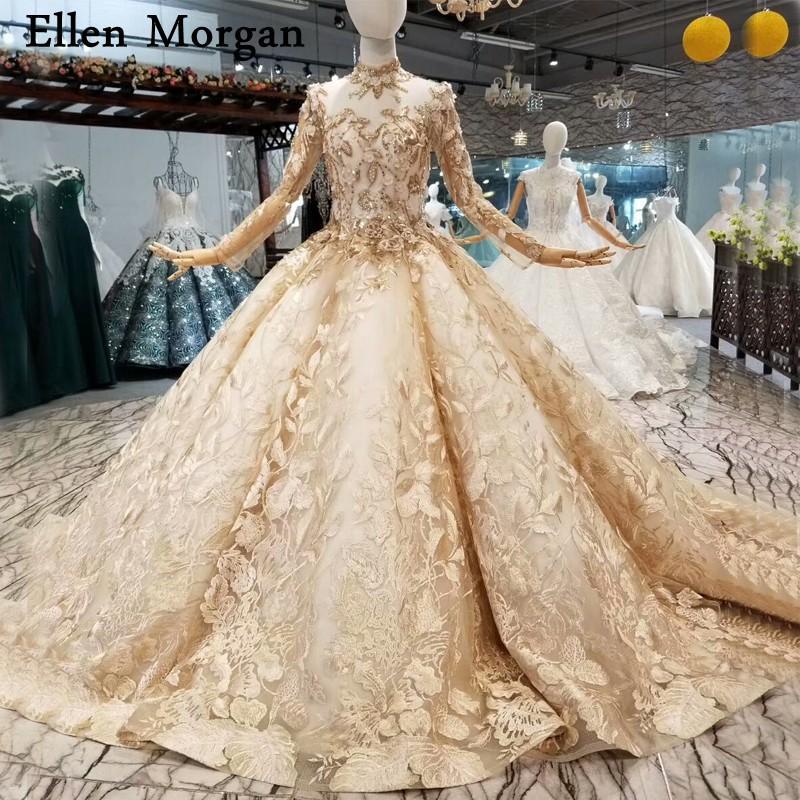 Abiti da ballo champagne abiti da sposa 2018 maniche lunghe collo alto corsetto lace up perline foto reali abiti da sposa per le donne indossare