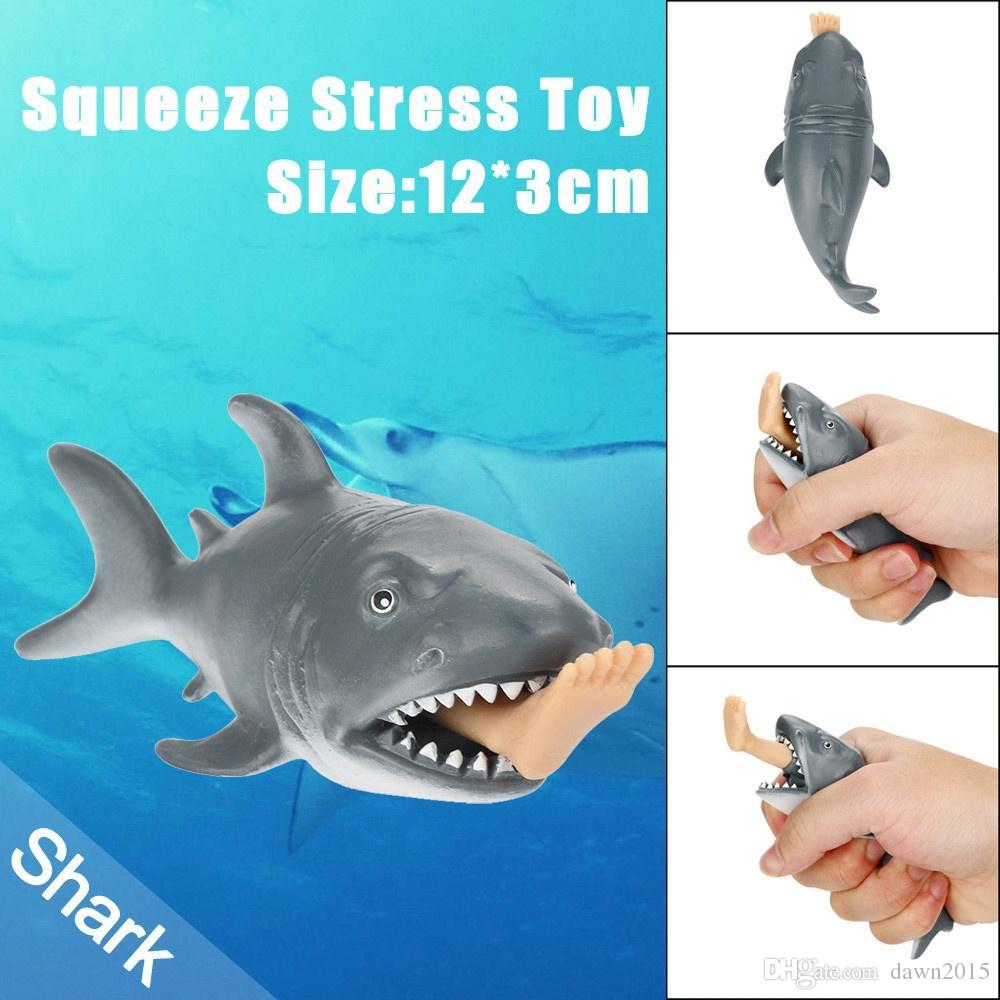Crazy promotion! 12cm Funny Toy Shark Squeeze Stress Ball Alternative Humorous Light Hearted New