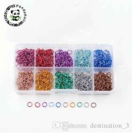 Кольца скачки алюминиевого провода открытые, смешанный цвет, 6x0.8mm; о 1000pcs / box