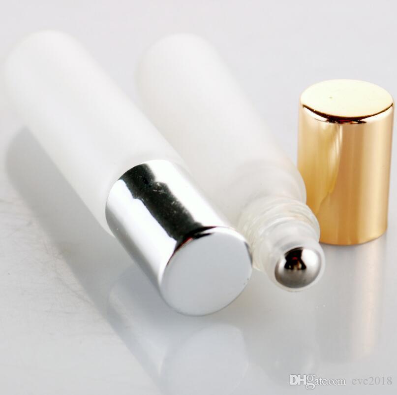 10 ml Vazio Rolo De Óleo Essencial De Vidro Fosco Em Garrafas Com Rolos de Aço Inoxidável Frete Grátis LX3035