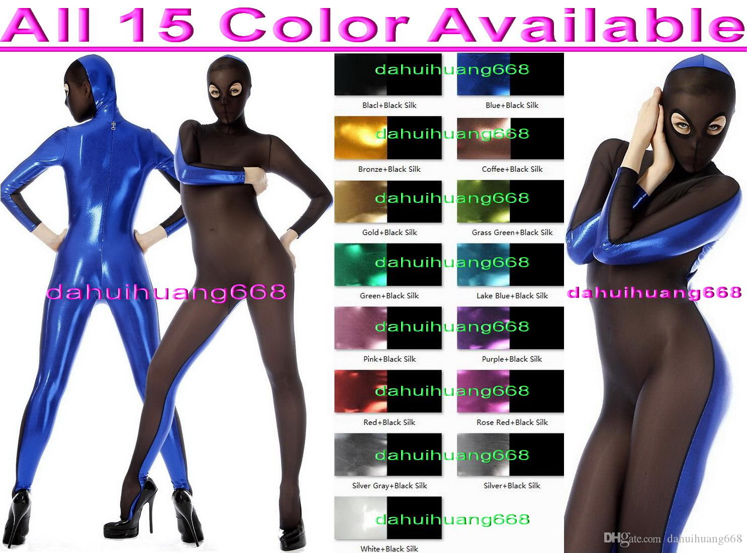 Sexy 15 Color Shiny Lycra Metallic and Spandex Silk Suit Catsuit Costumes Unisex Full Bodysuit Cosplay Costumes Outfit With Open Eyes DH064