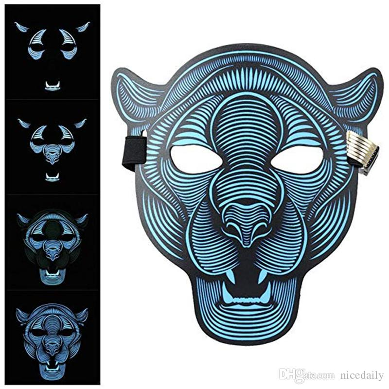 Mask Halloween Decorations, Voice Controling Glowing Cosplay lED Masks Creepy Scary
