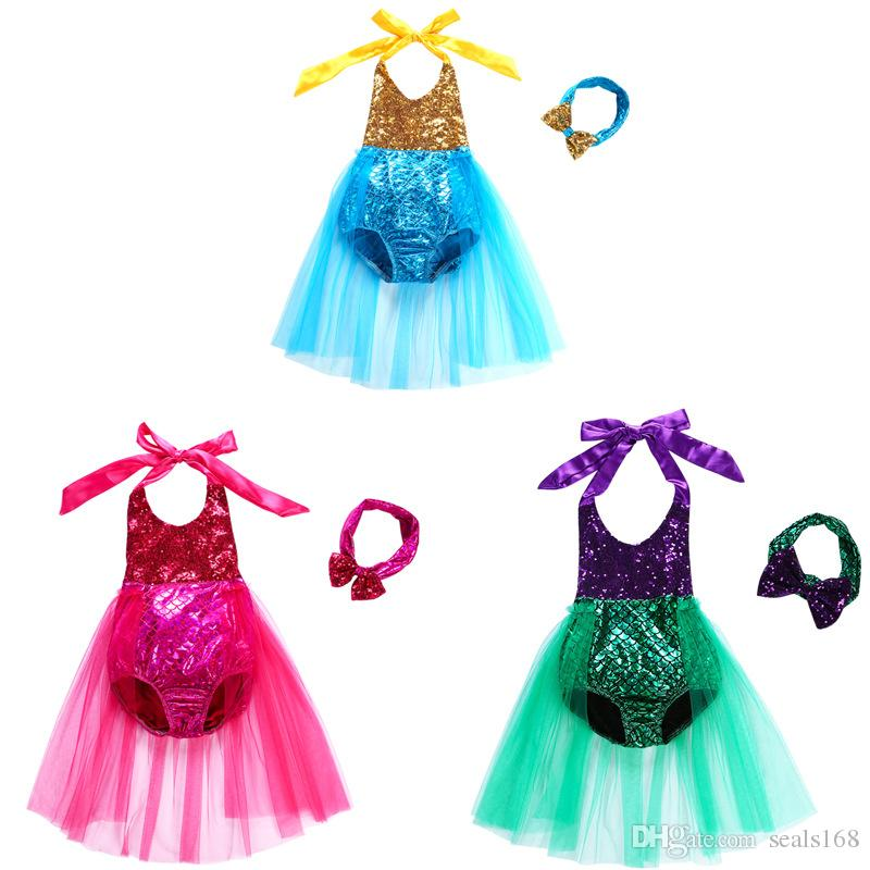 Kids Baby Girl Mermaid One-Piece Bikini Swimsuit Dress Sequin Lace Tutu Bathing Swimwear Headband Suit Beachwear HH7-1200