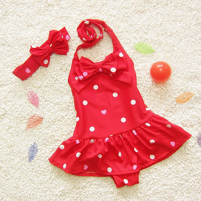 Kids Girl Swimsuit Children Cute Baby Summer Swimwear Girls Infant Bathing Suit Swimming Pool Clothing One Piece Toddler Blue Red S M L XL