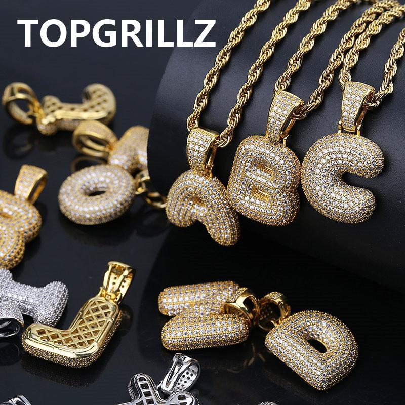 TOPGRILLZ A-Z Personnalisé Bulles Lettres Pendentif pour Hommes n Femmes Micro Pave Cubique Zircon DIY Hip Hop Collier Avec Chaîne En Corde