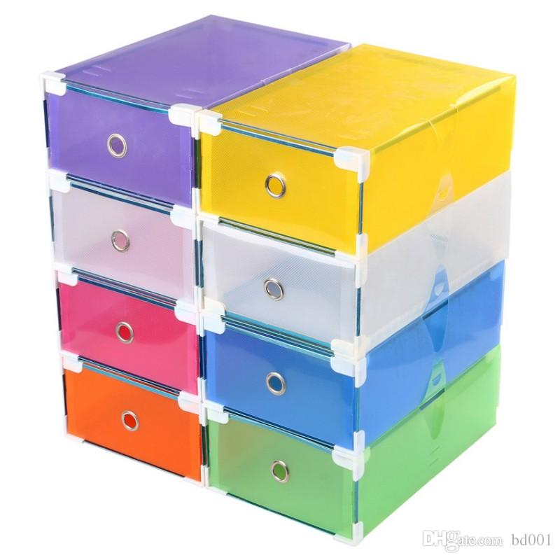 Contenedor de almacenamiento de plástico plegable Diseño de borde metálico Caja de zapatos Rectángulo multi función Tipo de cajón Organizador para mujeres 4jd BB