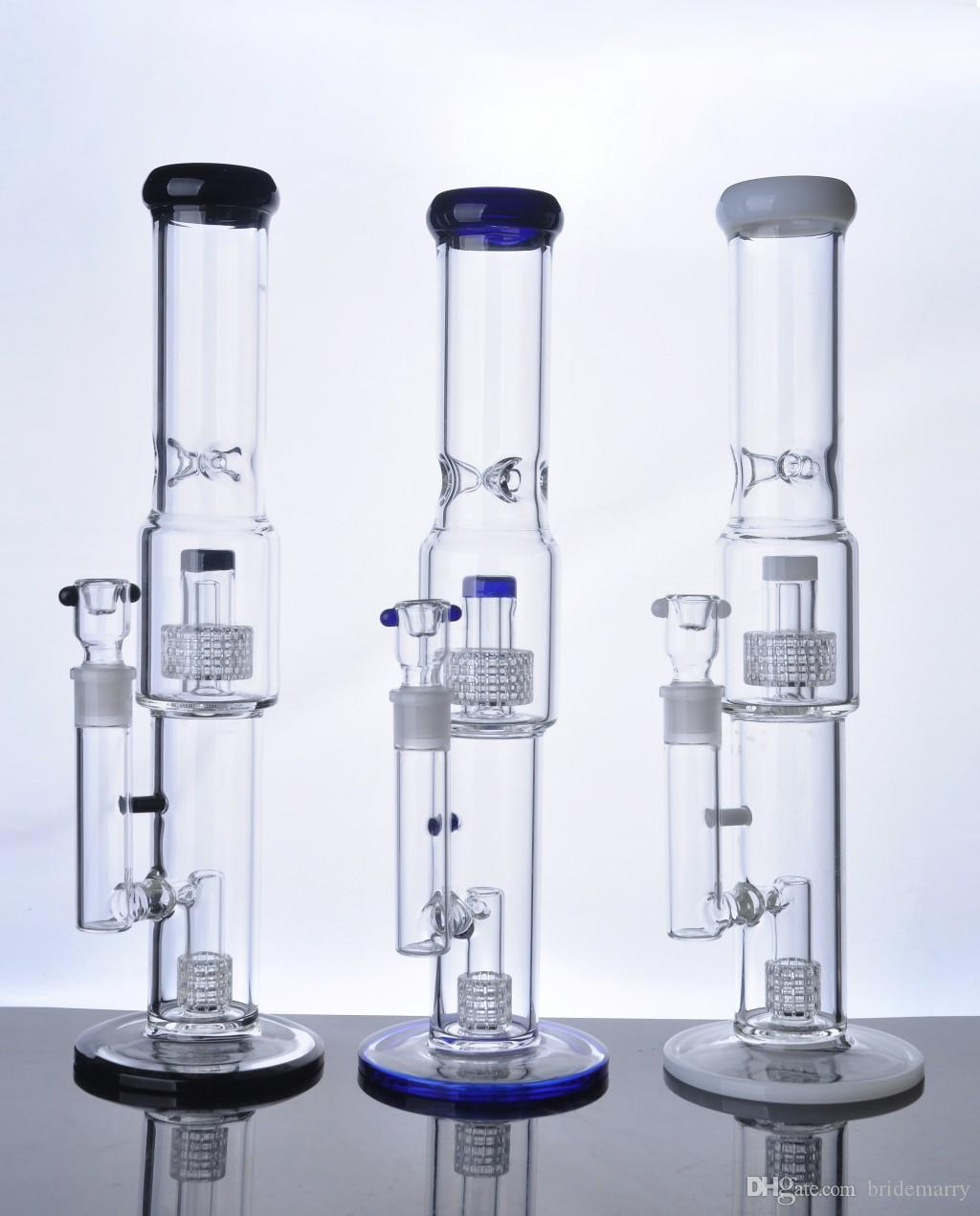 New Arrival Colorful Straight Glass Bong Thickness Base Hookah Vapor Rocket Water Pipe Birdcage Hookah Cheap Glass Bongs