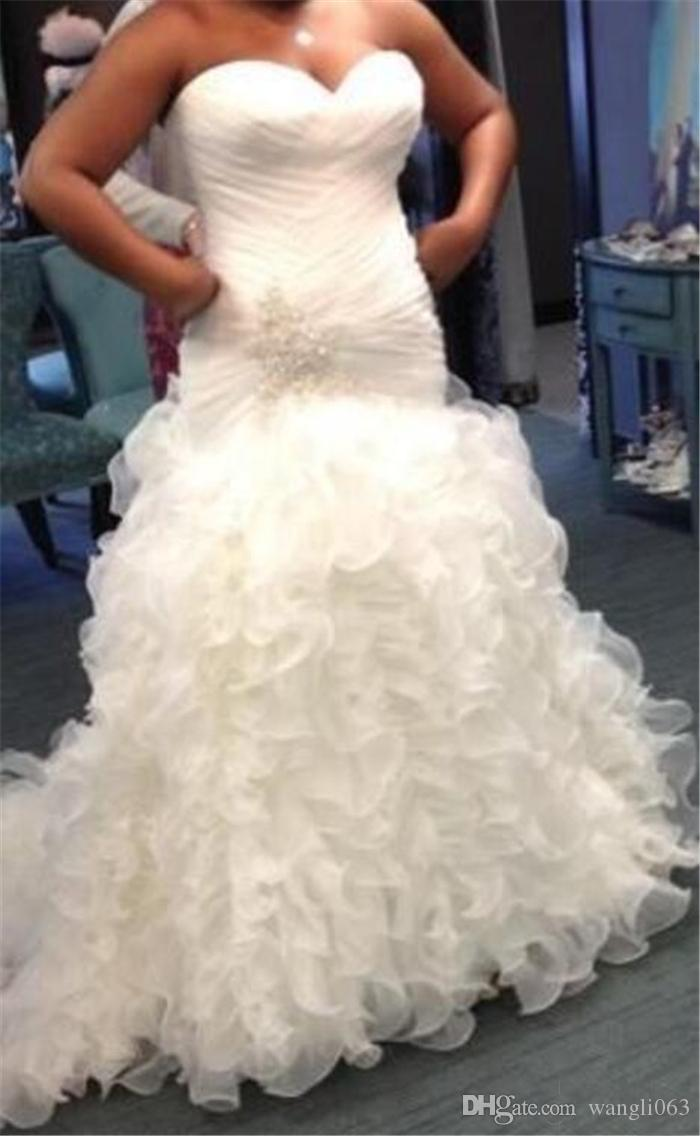 Beaded Plus Size Mermaid Wedding Dresses Ruffled Organza Sexy Pearls Sweetheart Corset Bridal Gowns Court Train