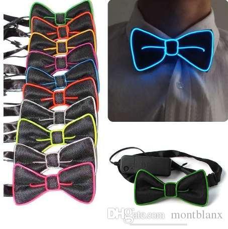 Hombres de la moda LED EL alambre corbata luminosa de neón parpadeante ilumina la pajarita para el Club Cosplay fiesta de noche decoración H9