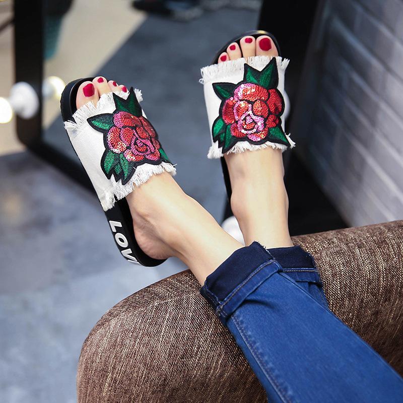 Yu Kube  2018 Women Denim Cloth Rose Flower Flip Flops Sandals Summer Shoes Beach Slippers Non-Slip Shoes