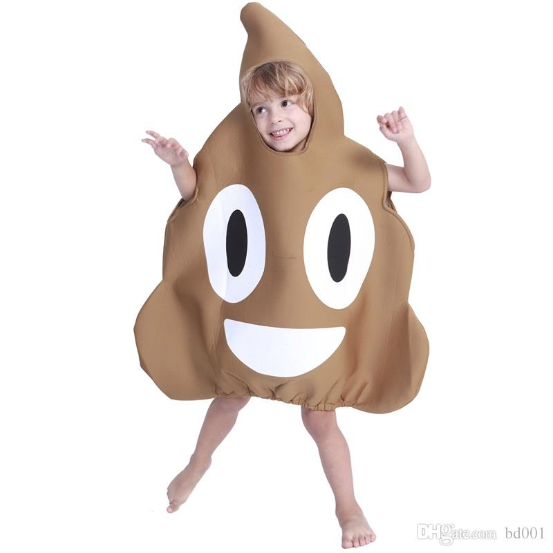 Funny Children Costumes Creative Cute Poop Emoji Clothing Cartoon Kid Halloween Party Masquerade Show Jumpsuit Factory Direct 7yd C