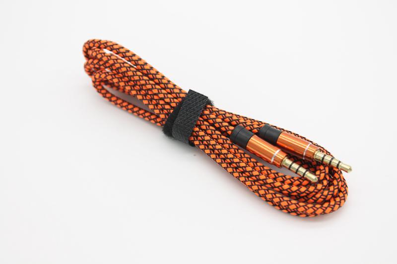 AUX 오디오 케이블 이중 수컷 1.5m / 3m 3.5mm 골드 도금 커넥터 꼰 패브릭 코드 20+