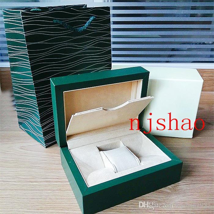 شحن مجاني جديد نمط العلامة التجارية الخضراء ووتش المربع الأصلي ورقة هدية الساعات صناديق الجلود حقيبة بطاقة 0.8 كيلوجرام ل رولكس ووتش مربع