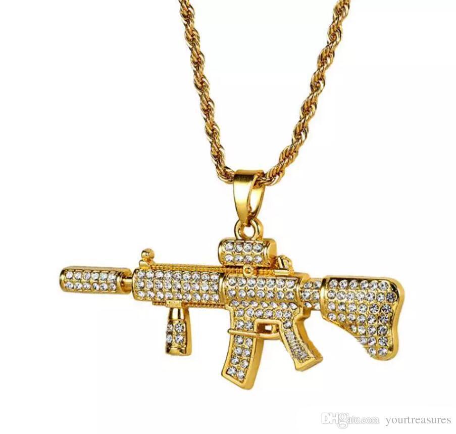 18k Gold Plated Rapper M4 submachellone gun Pendant Necklace 75cm Gold Color HIPHOP New York Men's Pendant necklaces 2018