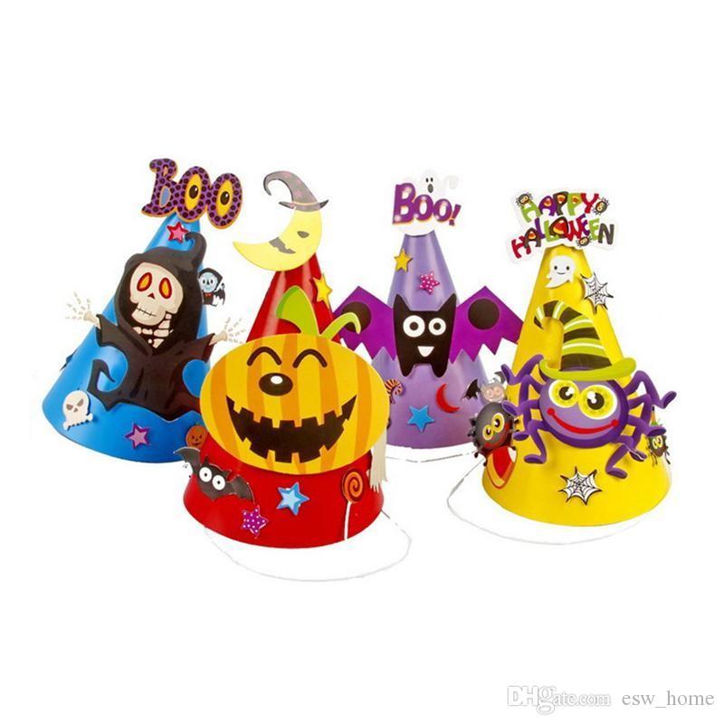 Хэллоуин мультфильм шапки бумаги ведьма шляпа тыква паук летучая мышь скелет косплей костюм поставки партии детские подарки с мешок opp