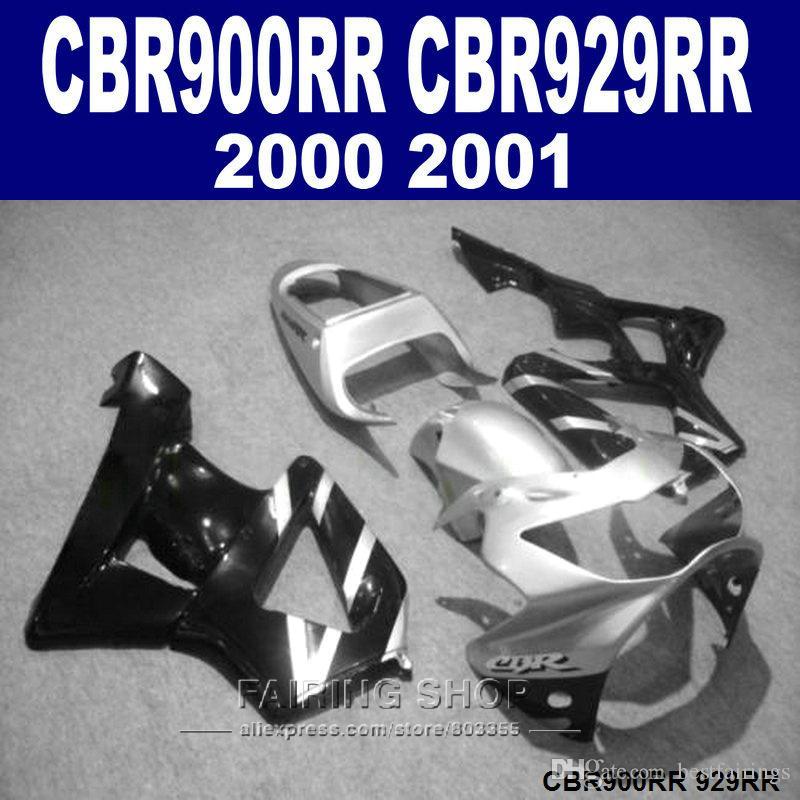 Black silver ABS Fairings set for Honda CBR900RR CBR929 2000 2001 fairing kit CBR929RR00 01 PP09