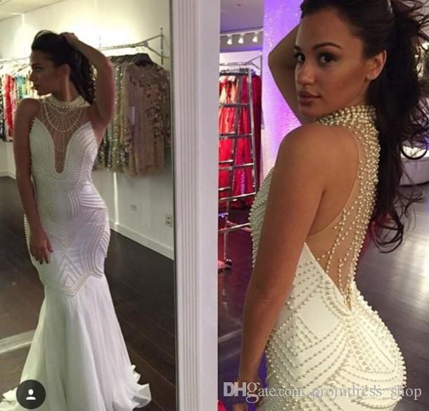 2019 New High Neck White Mermaid Evening Dresses Chiffon Beaded Pearls Floor Length Formal Prom Party Dresses