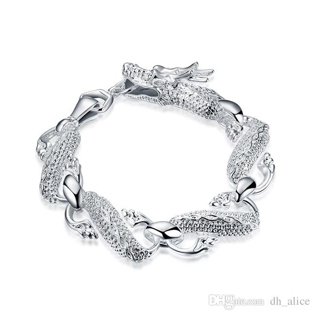Drago Bracciale Big White - argento Uomo braccialetto placcato; Regalo di nozze! uomini e donne braccialetto in argento 925 SPB036