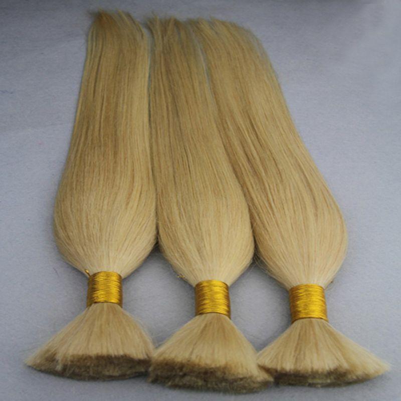 Loiro Em Massa cabelo humano atacado 3 PCS trança humana a granel cabelo 300g sem trama a granel cabelo humano para trança