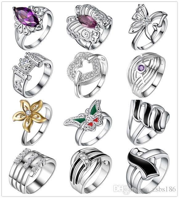 Wholesale Mixed Order 24pcs/lot 925 Sterling Silver Pltaed Finger Ring with Zircon Fashion Woman Party Jewelry Birthday Gift Size 6-9#
