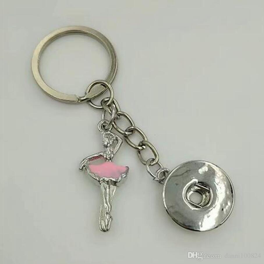 Émail Dancing Girl / ballerine 18mm Snaps Bouton Keychain charme porte-clés pour clés de voiture Porte-clés Souvenir couple sac à main porte-clés A71