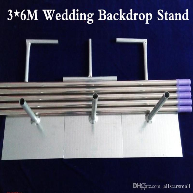 3X6M Stainless Steel Pipe Wedding Backdrop Stand With Expandable Rods Backdrop Frames Wedding Event&Party Decoration
