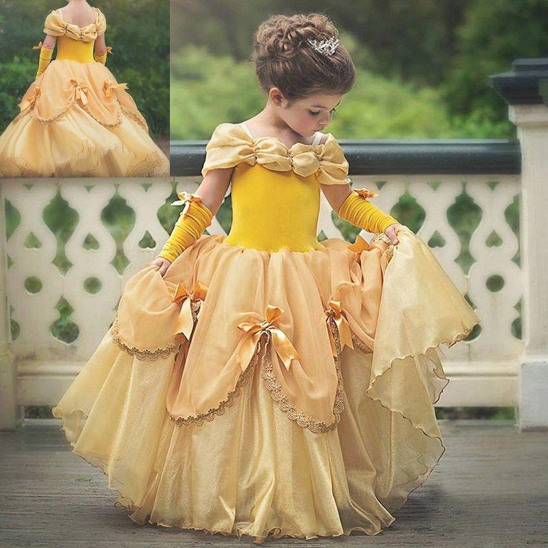 2018 هالوين تأثيري حلي اللباس أطفال جديدة بنات الأمراء الأصفر حزب الأميرة عيد اللباس HH7-1741