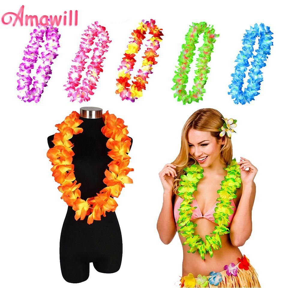 Amawill silk hawaiian leis necklace hawaii flowers diy garland for amawill silk hawaiian leis necklace hawaii flowers diy garland for festival tropical beach luau party decorations izmirmasajfo