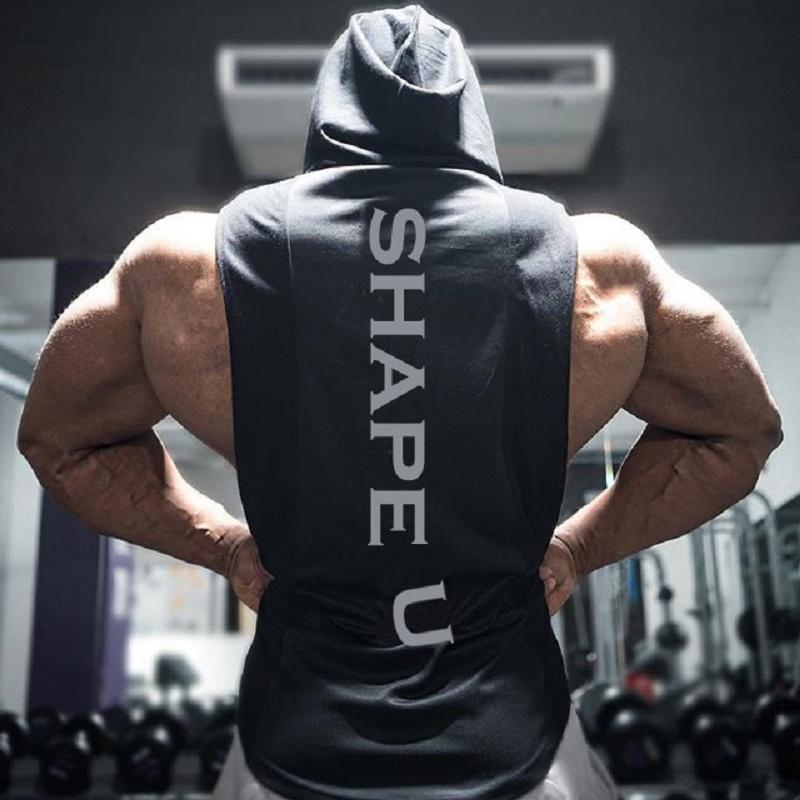 Men's Muscle Fitness Hoodies Tank Tops Male Sleeveless Casual Gymnasium Active Workout Hooded T-Shirts Vests Pullovers