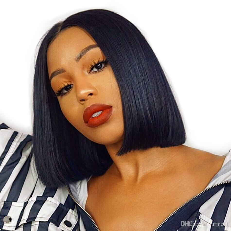 Short Blunt Cut Bob Wig For Black Women With Pre Plucked Hairline Brazilian Remy Hair Short Lace Front Human Hair Wigs Best Full Lace Wigs Celebrity