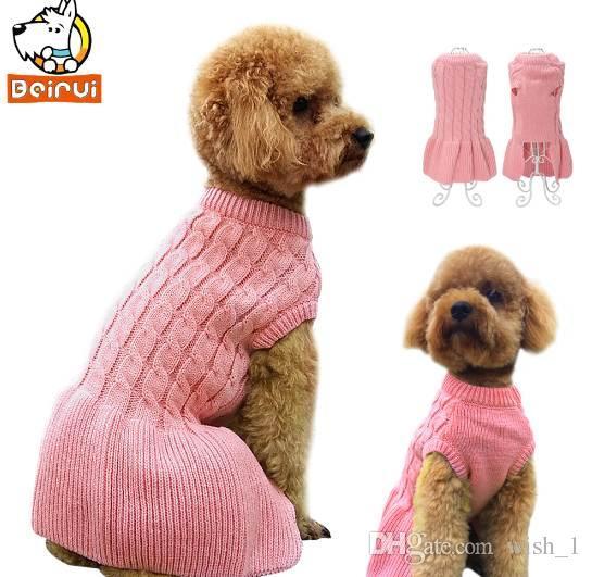 Rosa Quente Malha Camisola Para Cachorro Outono Inverno Vestido Roupas para Cachorros Roupas de Cachorro Casaco Vestuário para Pequeno Médio Cães Gato Chihuahua