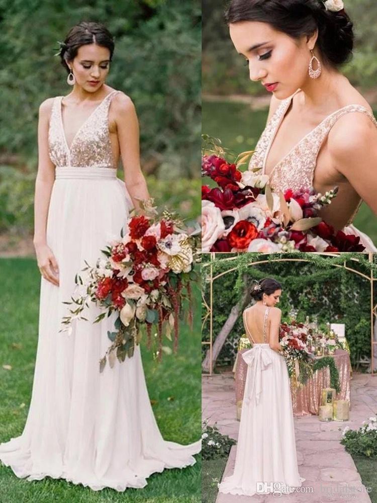 Modest Rose Gold Sequins Top Bridesmaid Dresses Sexy V neck Backless Chiffon Long Bridesmaid Dress With Big Bow Robes de demoiselles d'honne