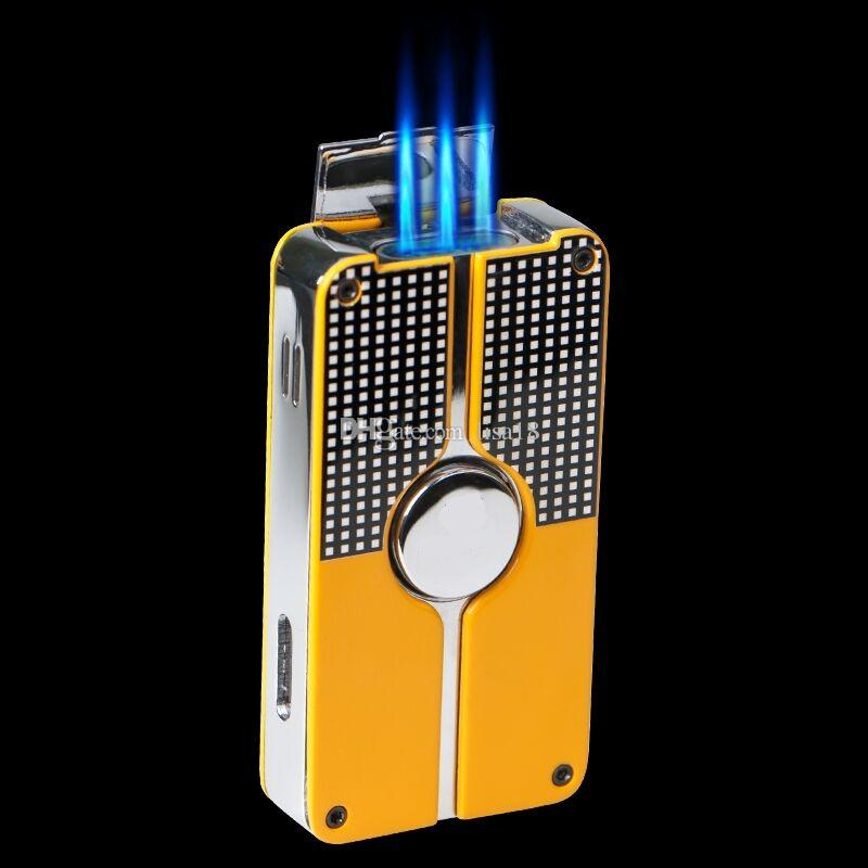 Wholesale-COHIBA Yellow Black Classic 3 Torch Windproof Butane Gas Refrillable Jet Flame Lighter W/ Built-in Punch New Design