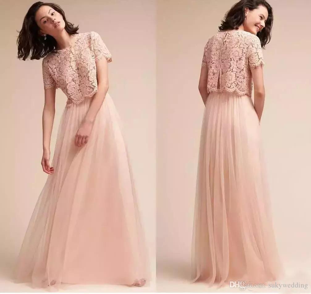 Großhandel Erröten Rosa Spitze Brautjungfernkleider Tulle Lange Mädchen Der  Ehre Kleider Hochzeit Formale Partei Kleider Hochzeitsgast Abendkleider