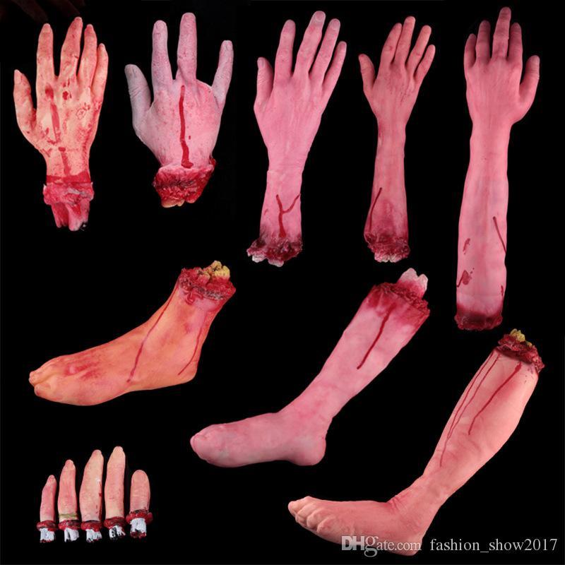 Dedo roto Mano Pie Horror Decoración de Halloween Separado Miembros sangrientos Mano Novedad Dead Broken Hand Gadgets