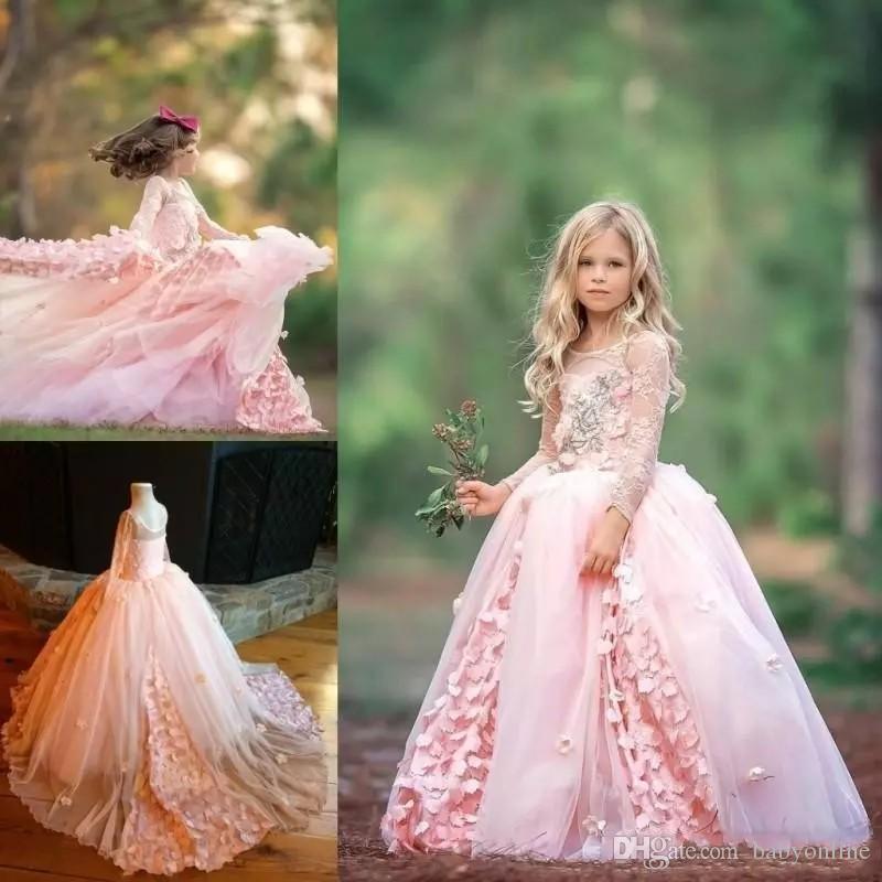 Compre 2019 New Pink Little Girls Vestidos De Desfile Joya Para Niños Mangas Largas Encaje Flores Vestido De Gala Vestido De Niñas De Flores Para La