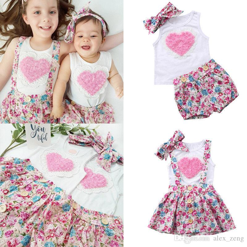 New Kids Baby Girls Sister Dress Floral Outfits Clothes T-shirt +Vest Pants/ Skirts+ Headband 3PCS Set Pink Heart Family Matching Clothing
