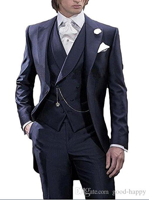 Manhã Estilo Azul Marinho Tailcoat Noivo Smoking Bonito Homens Desgaste Do Casamento Dos Homens de Alta Qualidade Formal Do Partido Do Baile de finalistas Terno (Jaqueta + calça + Gravata + Colete) 986