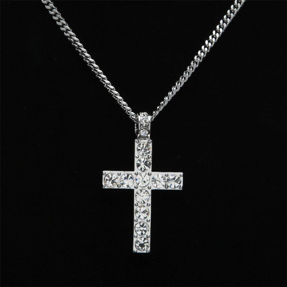 Hip Hop Alliage Croix Pendentif Collier Glacé Sur Strass Or Ton Argent Crucifix Charme Bijoux Drop Shipping 2pcs